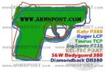 Taurus TCP 380 ACP Pocket Pistol Size Comparison DB380 P380 P3AT LCP P238 Bodyguard 380 TCP img2